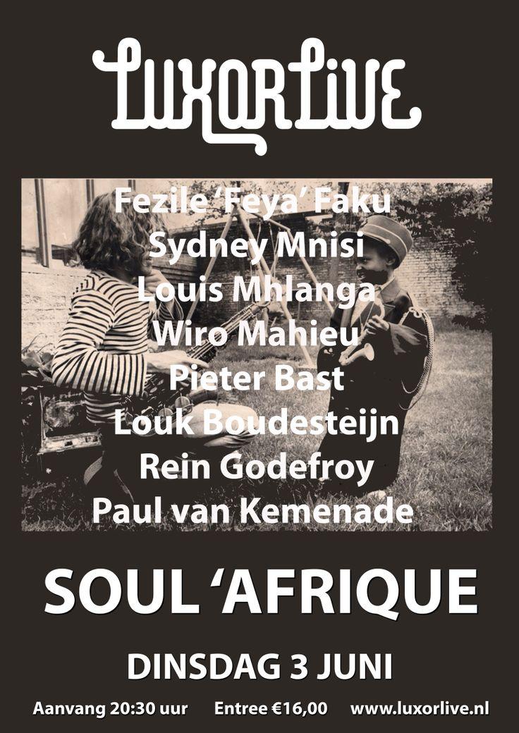 Het project Soul 'Afrique is een warme mix van Europese geïmproviseerde muziek, Amerikaanse Jazz en diverse Zuid Afrikaanse stijlen. Na lange tijd gaat dit gezelschap weer gezamenlijk op tournee langs een groot aantal clubs en festivals in Nederland, maar daarna ook in Afrika! #jazz