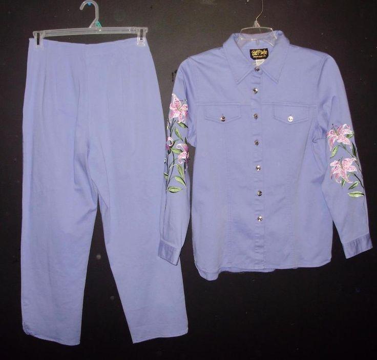Bob Mackie Purple embroidered floral pants and shirt set-Size Small #BobMackie #Shirtpantsset