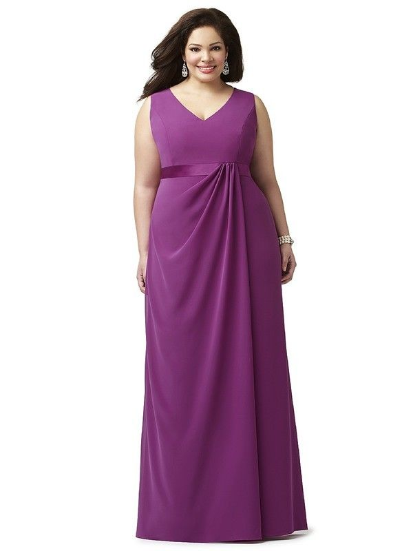 Dessy Lovelie 9000 Bridesmaid Dress. This sleeveless full-length Nu-Georgette gown is designed in a plus size to showcase a voluptuous figure. The smooth bodice features a V-neckline, shoulder straps and a high back. The empire waistline is embellished with a satin trim. The skirt flows in soft lines from a flattering drape on the waistline.