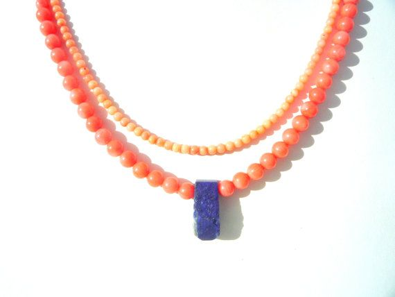 Gorgeous color combination. Coral gemstone necklace with the Bluest Blue rough natural tip drilled Lapis