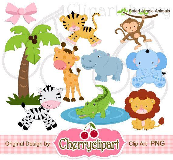 Safari Jungle Animals clip art for baby quilt