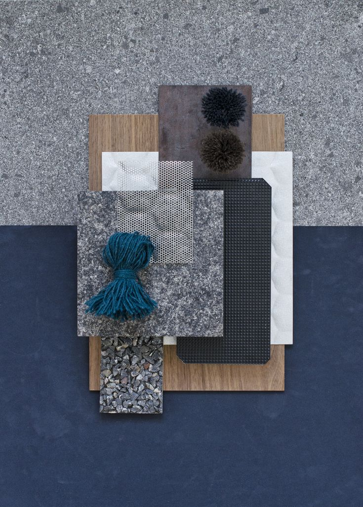 Material mood for a male store concept ~ Dark Weathering Steel & Wallnut #europlac #decastelli #aluminium #wool #nature #stone #colors #velvet #darkblue #grey #storedesign #retail #project #material #mood #moodboard #design #architecture #studiodavidthulstrup