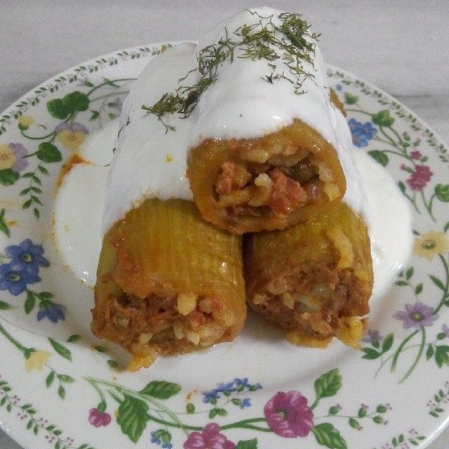 KABAK DOLMASI Malzemeler: 1 kg kabak 1 tatlı kaşığı domates salçası Sıvı yağ Harcı için: 250 gr kıyma 1 kahve fincanı pirinç 1 adet soğan 1 adet domates Dereotu Maydanoz 2 diş sarımsak 1 tatlı kaşığı biber salçası 1 tatlı kaşığı domates salçası Tuz,karabiber,pul biber Üzeri için: 1 adet domates Sarımsaklı yoğurt Dereotu Hazırlanışı: Kabakları yıkayıp,soyun ve istediğiniz boyda kesin.Kestiğin kabakların içini çıkarın. Harcı için soğan ve sarımsakları soyun doğrayın.Domatesleri soyup…