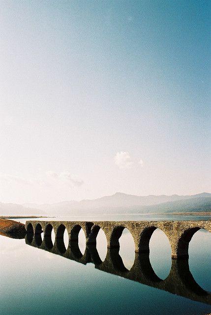 The Taushubetsu-Bridge at Nukabirako-Lake, Hokkaido, Japan