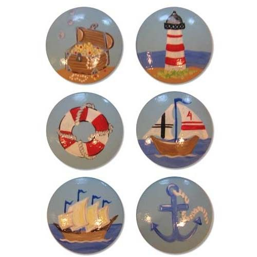 Boys Nautical Painted drawer knobs for kids and cabinet pulls, many many designs to choose from.  FREE SHIPPING RIGHT NOW, use coupon code SUMMER2013 when checking out.