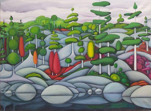 "Deb Gibson, Killarney Lake, oil on canvas, 23.5""x31.5"""