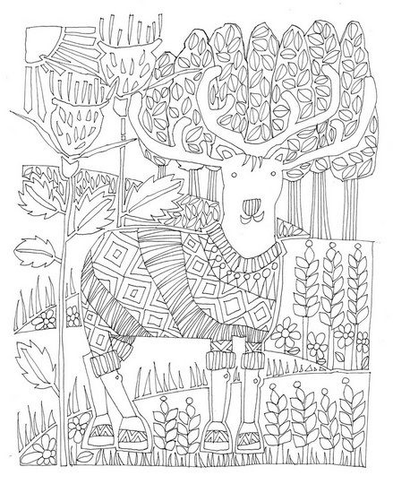 Stag Coloring Book Wall Art By Valerie Check It Out At
