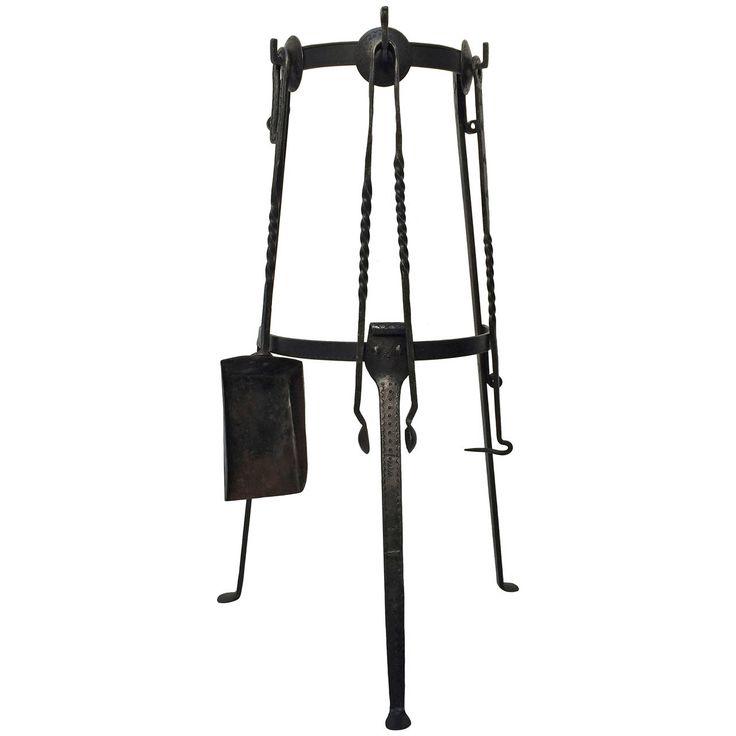 midcentury modern danish wrought iron fireplace tool set