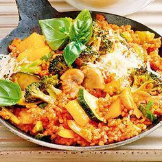 Bulgur-Gemüse-Pfanne mit Parmesan Rezept   Küchengötter