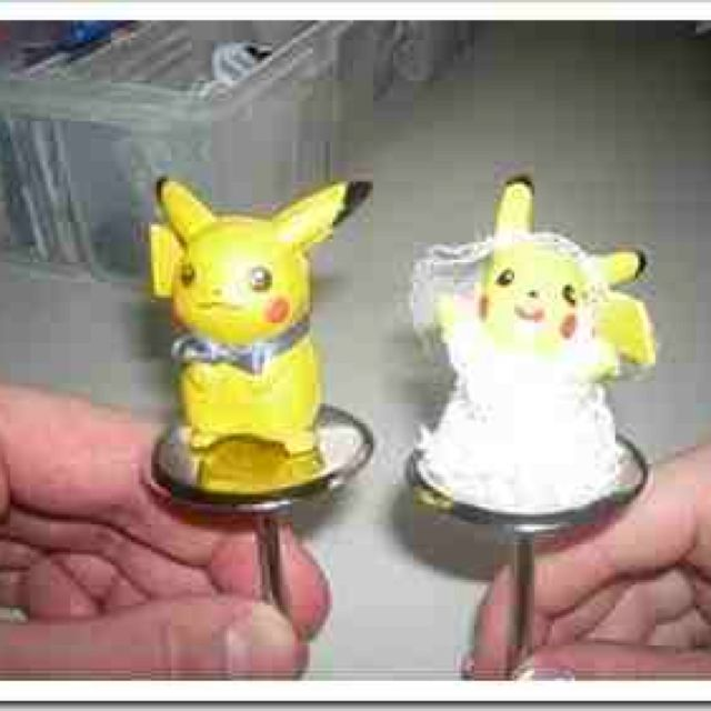 Pikachu wedding cake toppers! Pokemon <3 love it