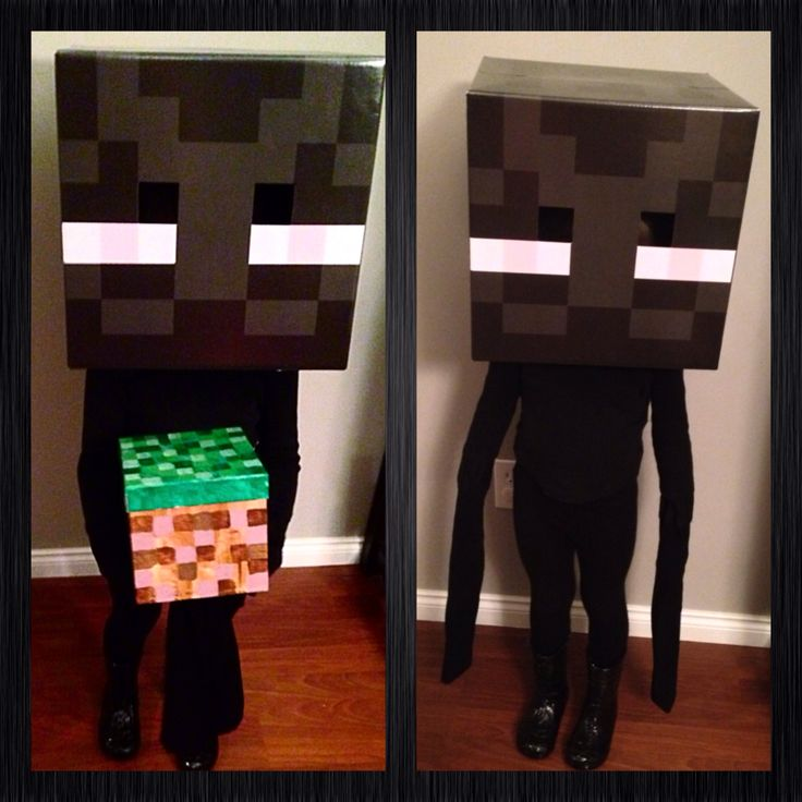Enderman Minecraft Halloween costume I made for my youngest daughter. Grass block opens for candy when trick or treating.
