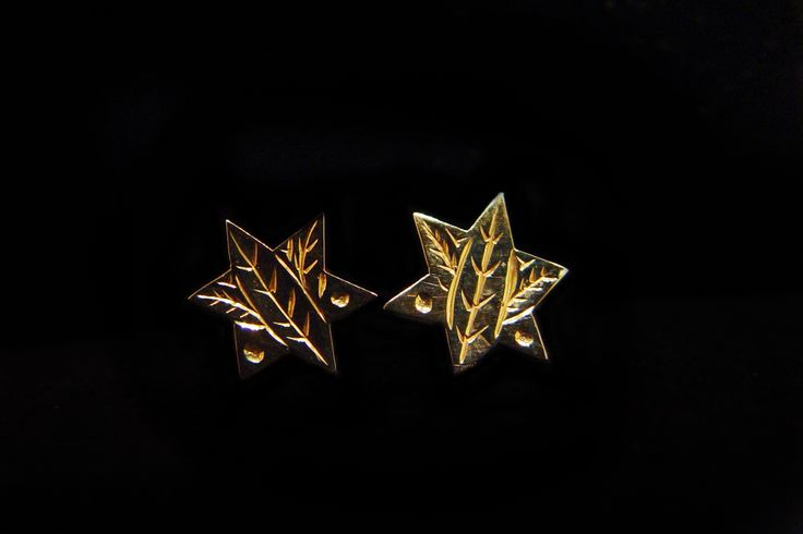 Gold Fireweed Stud Earring. Made of 14kt gold, by Ron Sebastian, a Gitksan artist. Measuring 0.25 inches in diameter. Northwest Coast First Nations Jewelry.