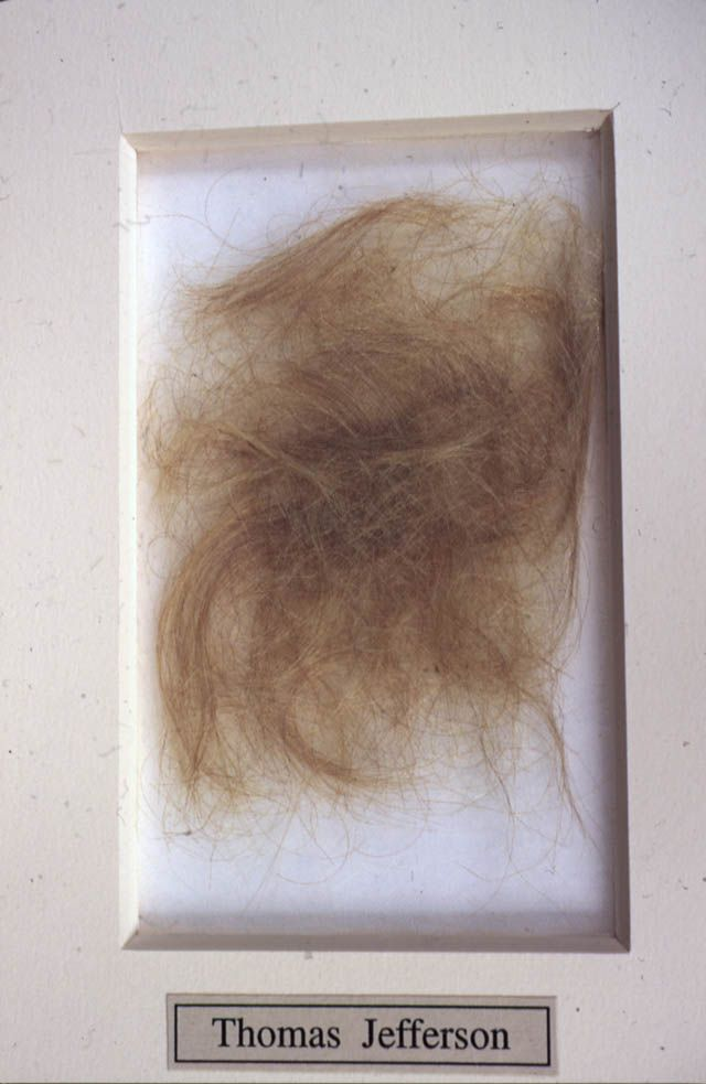 Thomas Jefferson's hair cuttings taken on Jefferson's deathbed as keepsakes by his only surviving daughter, Martha Jefferson Randolph, and other family members.