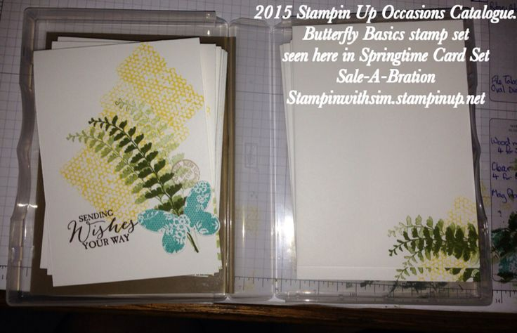 2015 Stampin Up Occasions Catalogue. Butterfly Basics stamp set seen here in Springtime Card Set, set includes pen and hard cover case for storage. $40 for a 10 card and envelope set like this. Orders taken and quotes given first. Payment to be made at 50% on ordering and full amount to be paid before they are sent out.  simsykes.outlook.com for all Stampin Up enquiries. Sale-A-Bration Stampinwithsim.stampinup.net