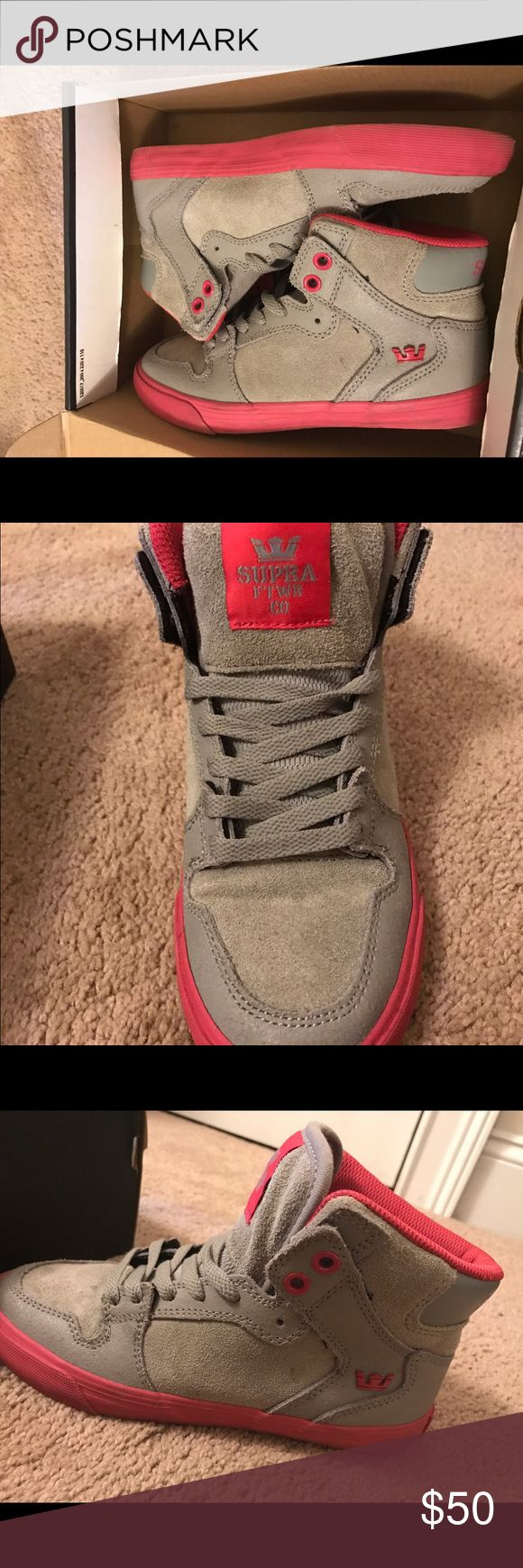 Supra Sneakers for girls in box Gray with pink highlighted high top sneakers. No tags, but never worn. Supra Shoes Sneakers