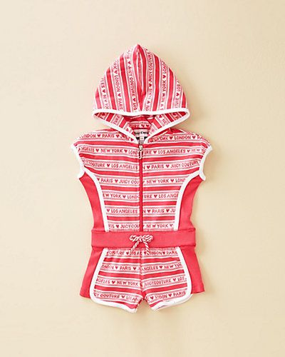 Some of you have to get in on this: Juicy Couture Girls' Raspberry Sorbet & White Hooded Romper (3-24M)