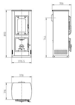 Kaminofen / Werkstattofen Thorma Milano II schwarz / weiß 5kW 2