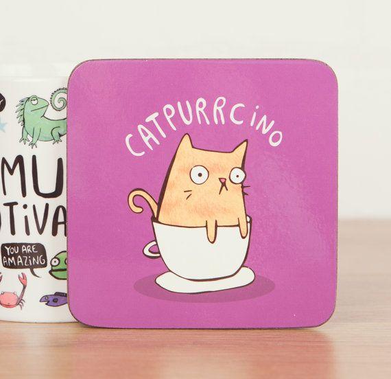 Catpurrcino Coaster - Cute Coaster - Pun Coaster - Cat Coaster - Gift for him - Gift for her - Cat gift - Teen Gift - Mat