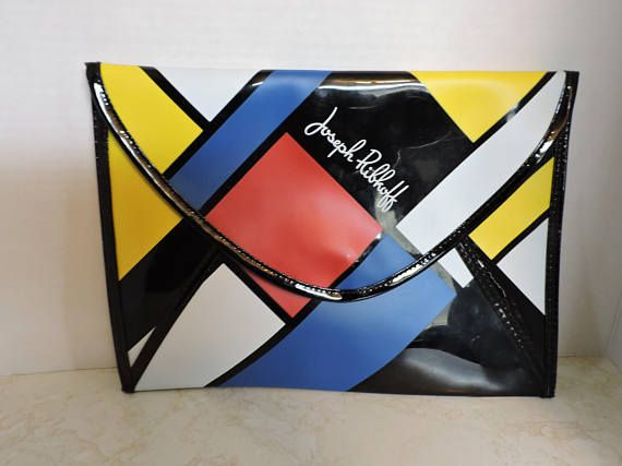 JOSEPH RIBKOFF  Clutch Red Blue Yellow Envelope Purse 11.5 X