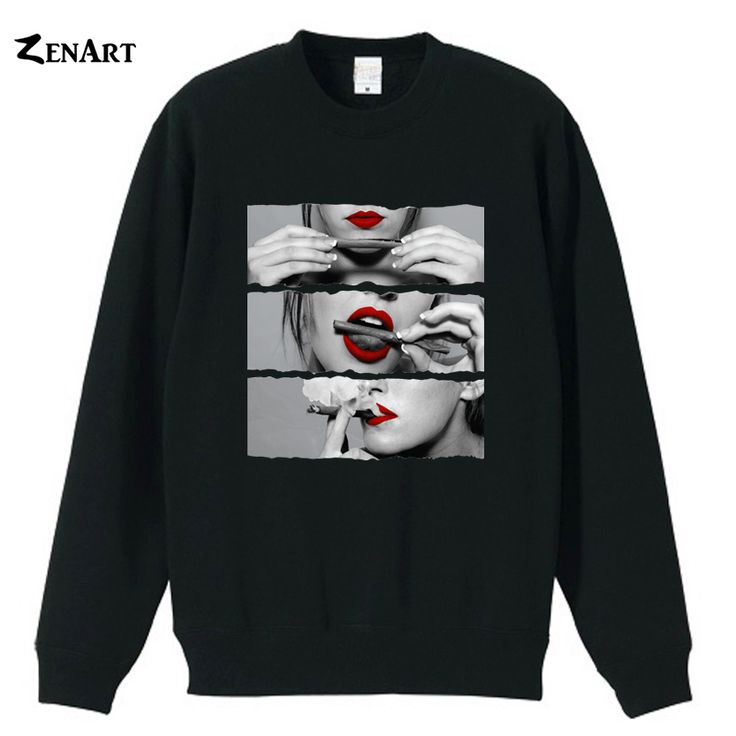 Sexy Lips Rolling Blunt Weed Woman Cotton Sweatshirts //Price: $21.74 & FREE Shipping //     #weed