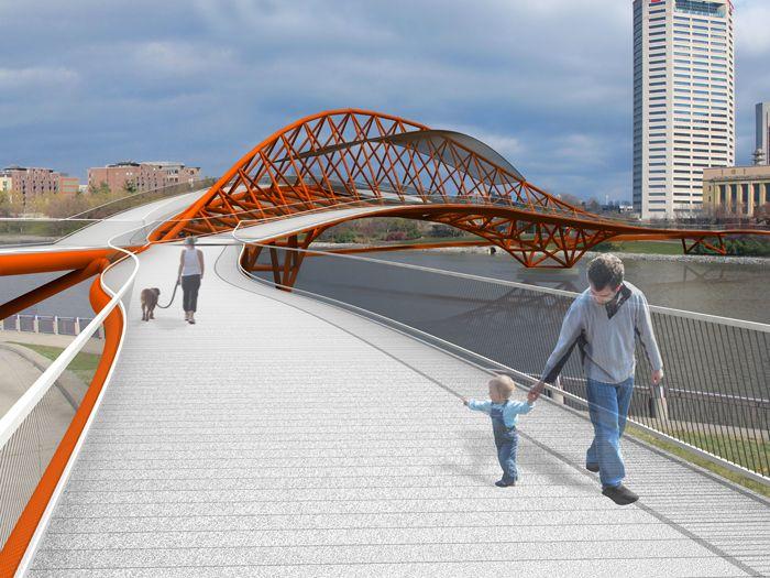 WXY architecture + urban design, Columbus Bridge, within the Scioto River Downtown Pedestrian Bridge Competition of the City of Columbus, Ohio, Usa