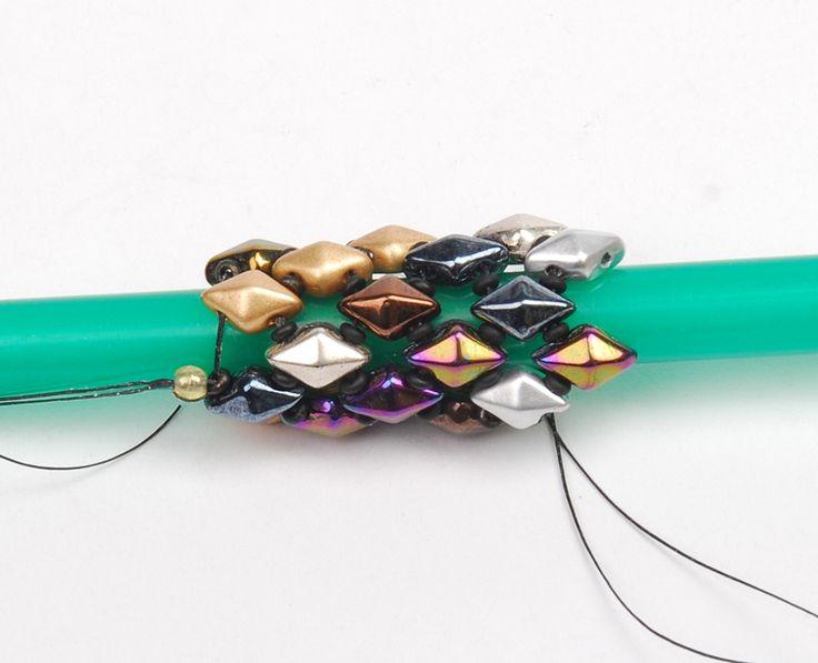 DiamonDuo Bracelet, bead weaving instructions, Step 6 ~ Seed Bead Tutorials