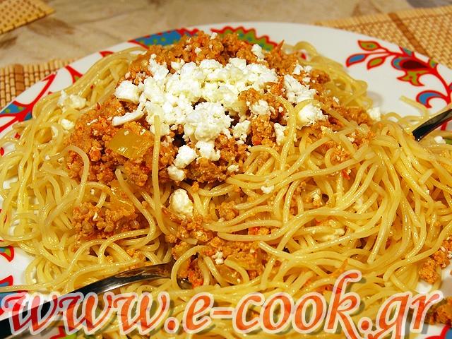 Μακαρόνια με κιμά κοτόπουλου. | www.e-cook.gr