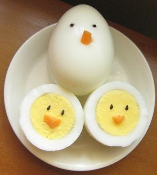 cute little chick hard boiled eggs - just add carrot and sesame seeds.