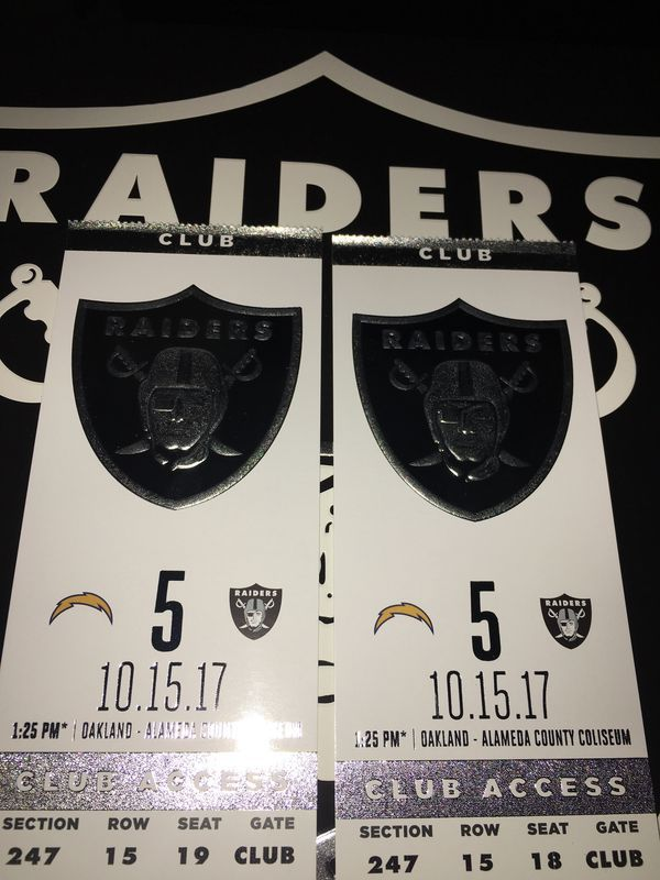 Raider game tickets for October 15th $200 a piece two tickets