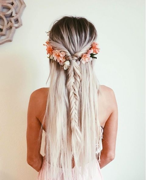 adorable | long blonde hair braids, floral crown, fishtail braid, half up, bayalage, balayage, deep roots, white hair, silver hair, fashion inspiration, minimalist, minimalism, minimal, simplistic, simple, modern, contemporary, classic, classy, chic, girly, fun, clean aesthetic, bright, white, pursue pretty, style, neutral color palette, inspiration, inspirational, diy ideas, fresh