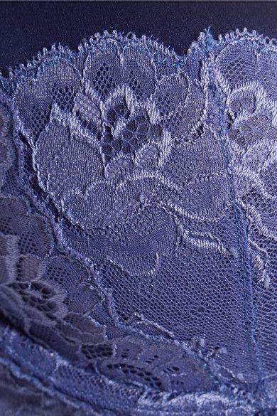 Stella McCartney - Daisy Twirling Stretch-silk And Lace Plunge Bra - Blue - 3