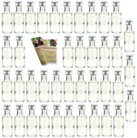"""40 leere Mini Glasflaschen """"Dora"""" 20 ml Glasfläschchen kleine Flaschen incl. Schraubverschluss, Likörflaschen zum selbst Abfüllen Schnapsflaschen Essigflaschen Ölflaschen"""
