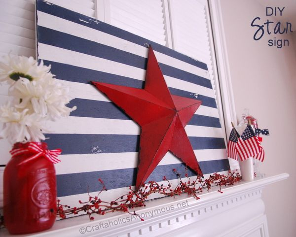 4th of July Craft - red star, blue/white striped particle board, red mason jar. Board might also look good painted red/white to use for Valentine's Day or Christmas...