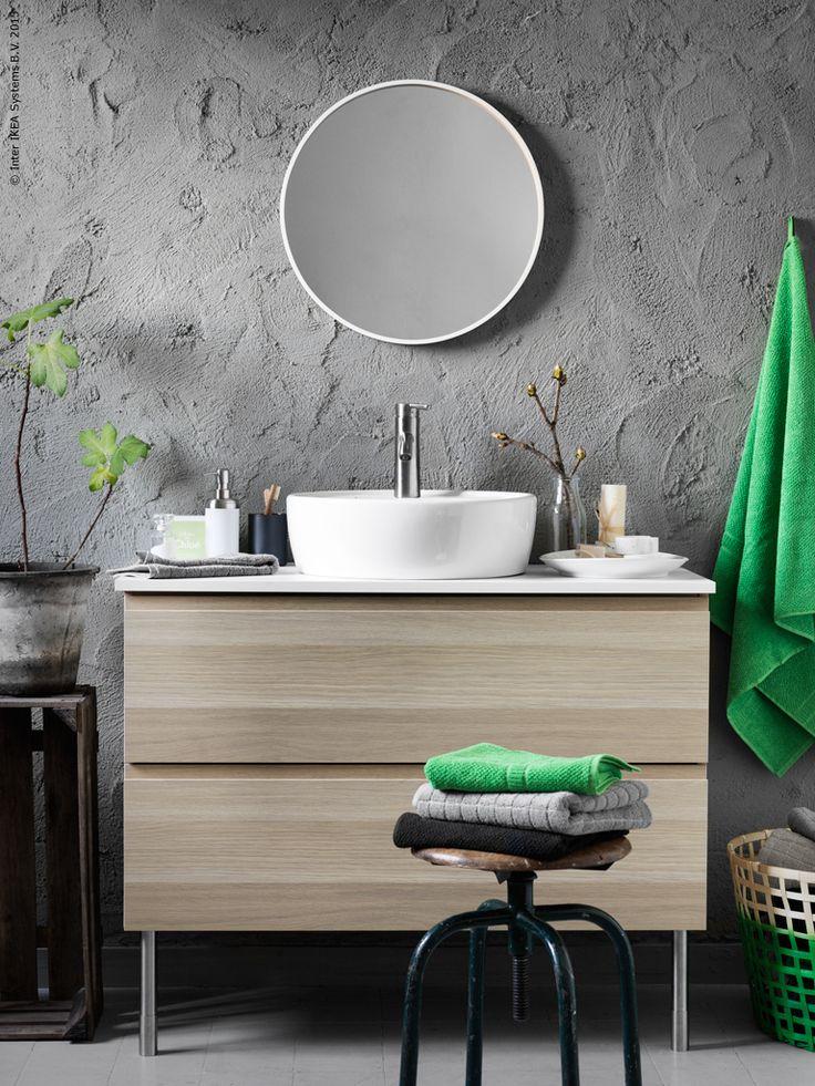 GODMORGON/ALDERN/TÖRNVIKEN kommod med tvättställ, SKOGSVÅG spegel i…