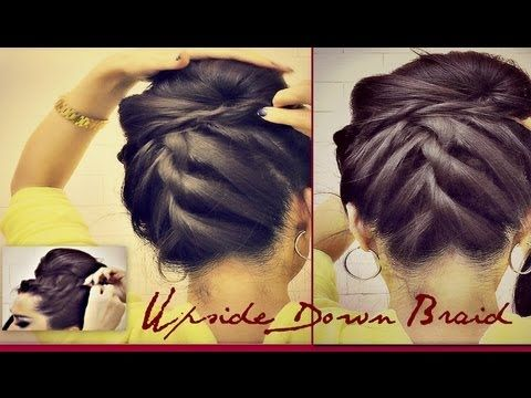 ★ KOREAN BUN UPSIDE DOWN  BRAIDED BUN UPDO FRENCH ROPE BRAID CHIGNON FOR MEDIUM LONG HAIR TUTORIAL