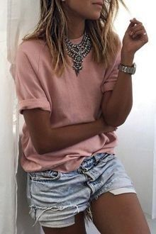 #summer #shorts #trend #outfitideas | Statement Necklace + Pink Tee + Denim Shorts