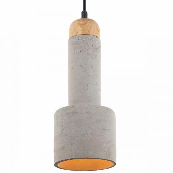 Lampada Mattone Rounded Concrete Shade & Timber Pendant Light