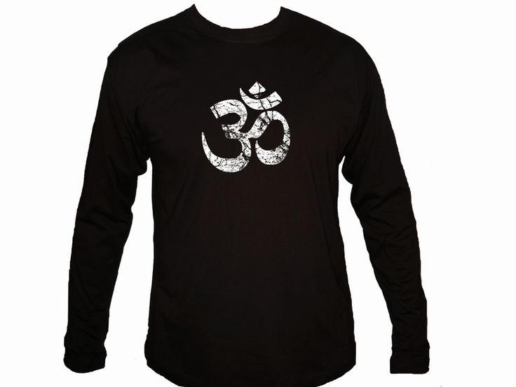 Ohm Aum om distressed print yoga symbols black customized sleeved t-shirt S-XL by mycooltshirt on Etsy
