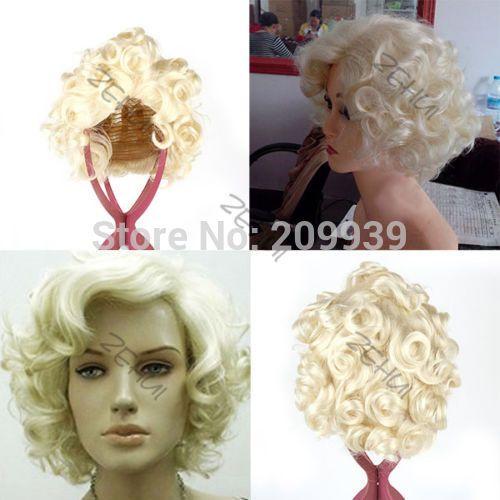 Кк 001081 стиль мода короткие светлые вьющиеся парик косплей мэрилин монро волосы полные парики 5.3