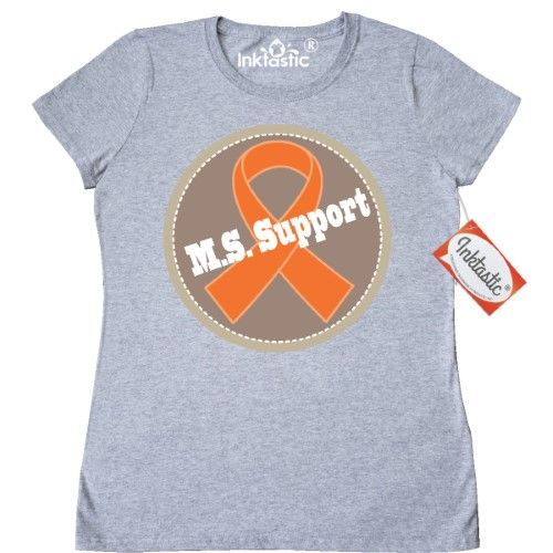 Inktastic Multiple Sclerosis Support Logo Women's T-Shirt M.s. Ms Walk Ribbon Orange Event Gear Slogan Awareness Month Clothing Apparel Tees Adult Hws, Size: XL, Grey