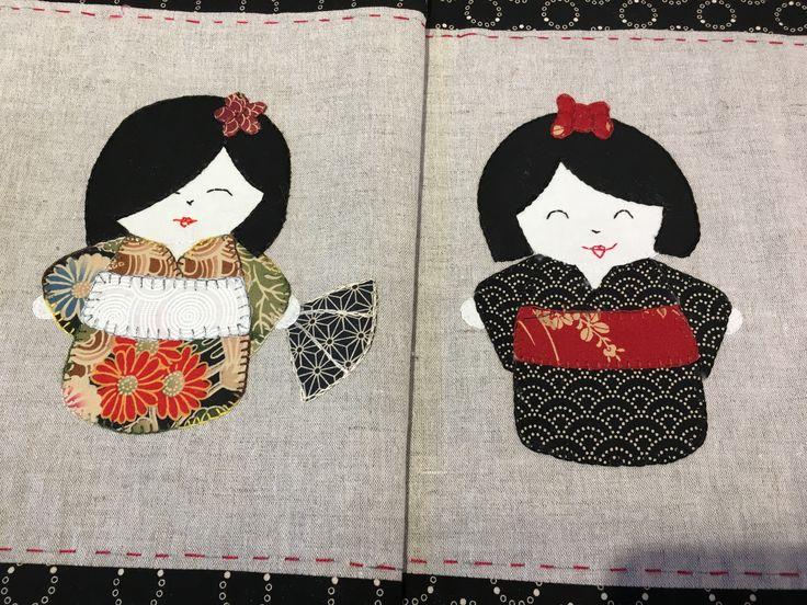 Disse søde japanske geishaer er syet af min kursist Elisabeth Melgaard i efteråret 2016 hos Speich Design.