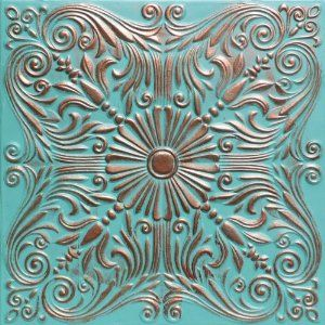 "Astana Accent Copper Patina (20x20"" Pvc) Ceiling Tile"