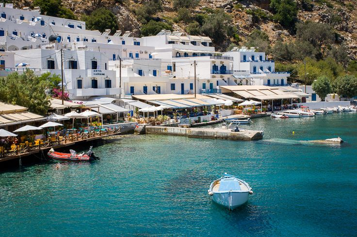 The small village of Loutro, a remote destination on the island of Crete, in Greece, not accessible via roads. You can only get there by taking a ferry from Paleochora or Hora Sfakia.