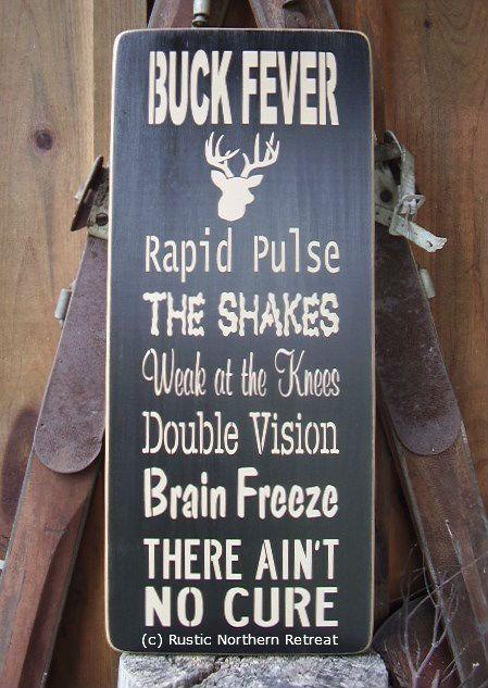 Buck Fever Deer Hunter Word Art Handmade Wood by RusticNorthern