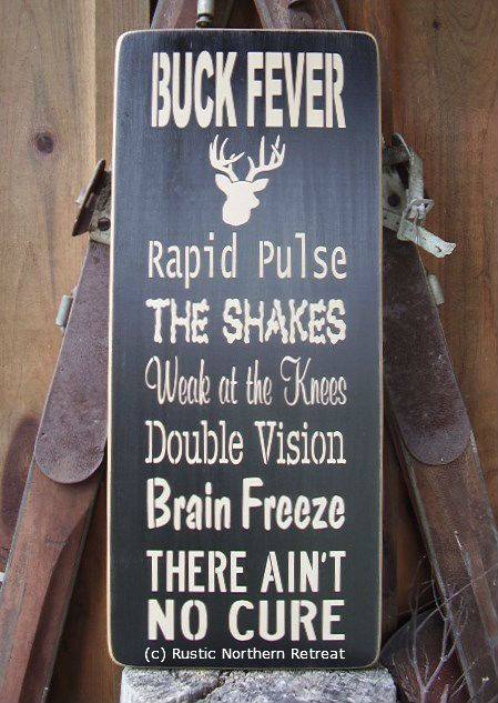 Buck Fever Deer Hunter Word Art Handmade Wood by RusticNorthern