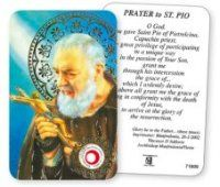 Saint Pio Prayer Card with Relic.