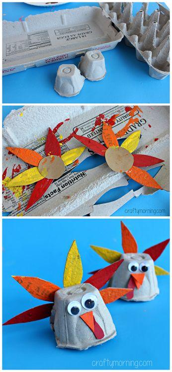 Egg Carton Turkey Art Project - Fun Thanksgiving craft for kids | CraftyMorning.com