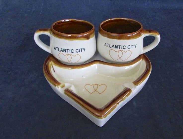 Vintage Atlantic City Casino Heart Shaped Ashtray His And