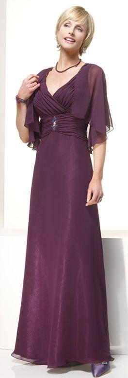 V-neck Column Chiffon 1/2 Sleeves Empire Ruffles Elegant Mother Of Brides Dress