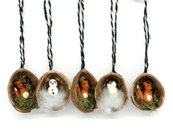 Tree Jewelry Walnut Fox and snowman 5 pieces 3.58 euro/Piece Christmas tree jewelry handmade wood nut shells